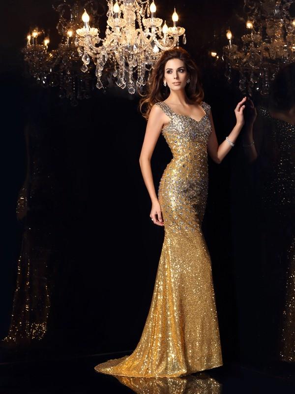 Trumpet/Mermaid Straps Sleeveless Long Sequins Dresses