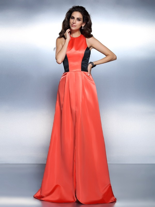A-Line/Princess Sleeveless Long Satin Dresses