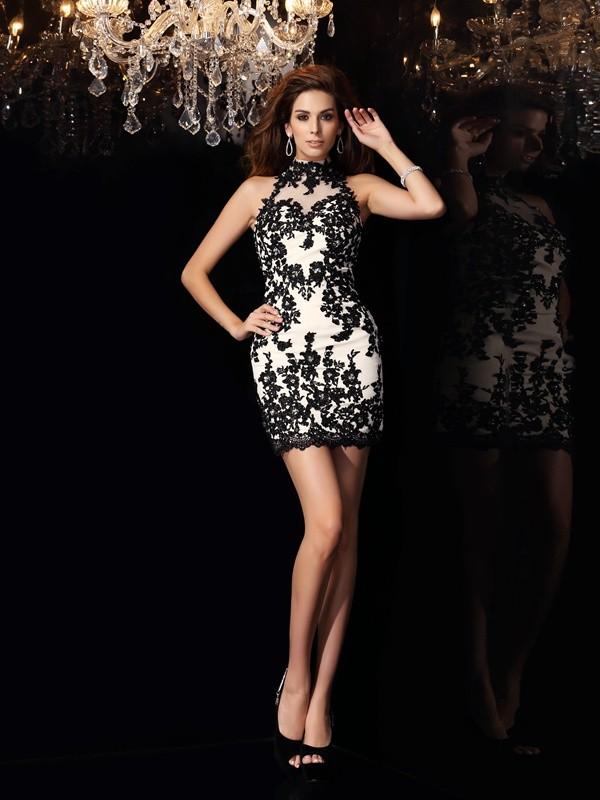 Sheath/Column Beading Sleeveless Short Chiffon Cocktail Dresses