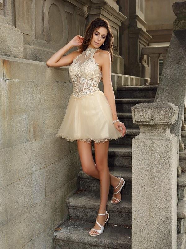 A-Line/Princess Ruffles Sleeveless Short Tulle Cocktail Dresses