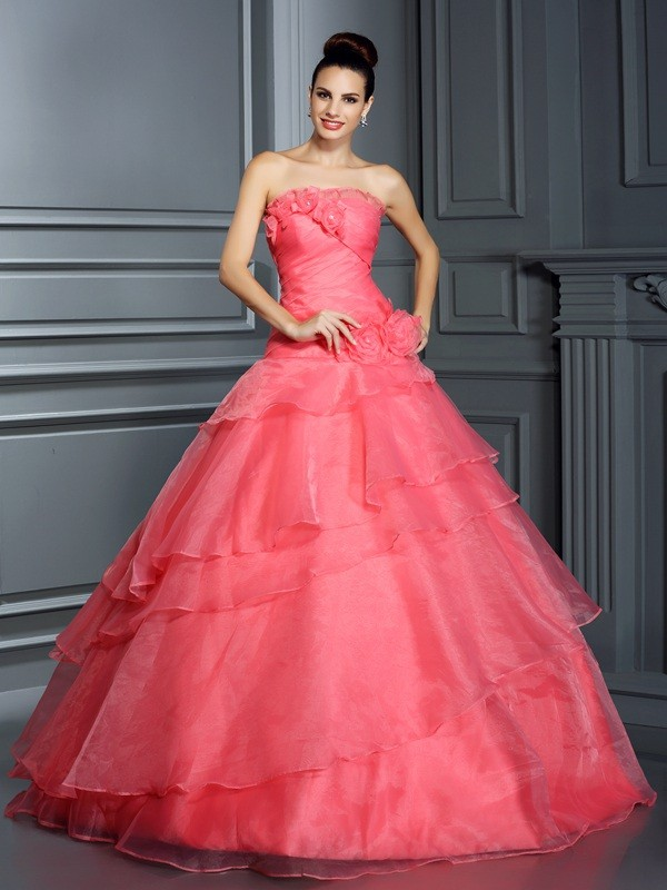 Ball Gown Strapless Hand-Made Flower Sleeveless Long Organza Quinceanera Dresses