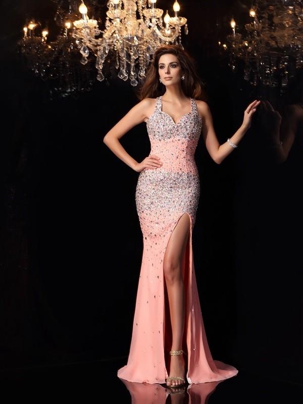 Trumpet/Mermaid Straps Beading Sleeveless Long Chiffon Dresses