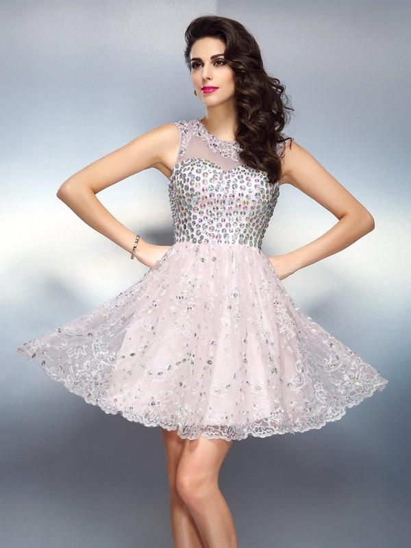 A-Line/Princess Bateau Beading Sleeveless Short Satin Cocktail Dresses