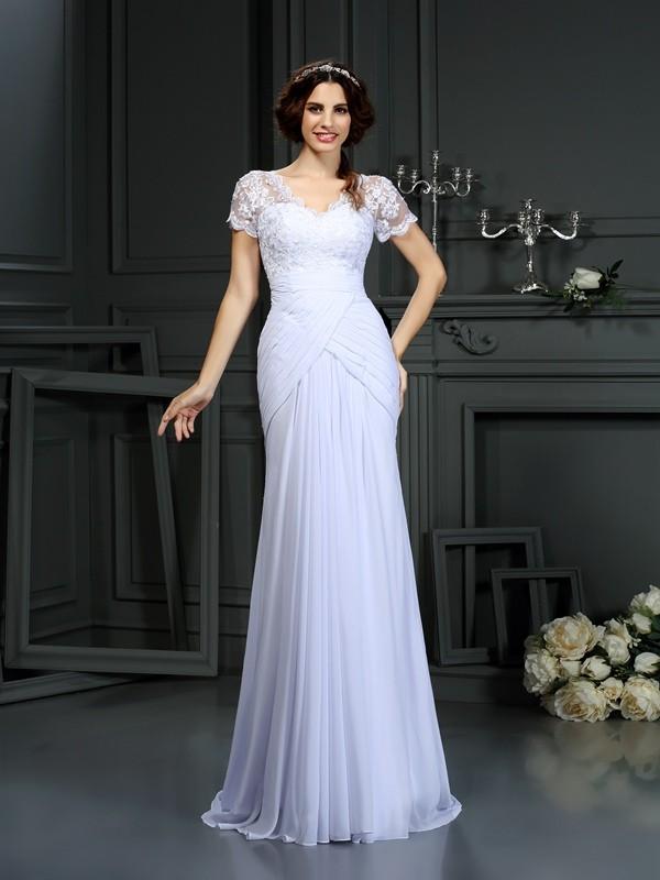 Sheath/Column V-neck Lace Short Sleeves Long Chiffon Wedding Dresses