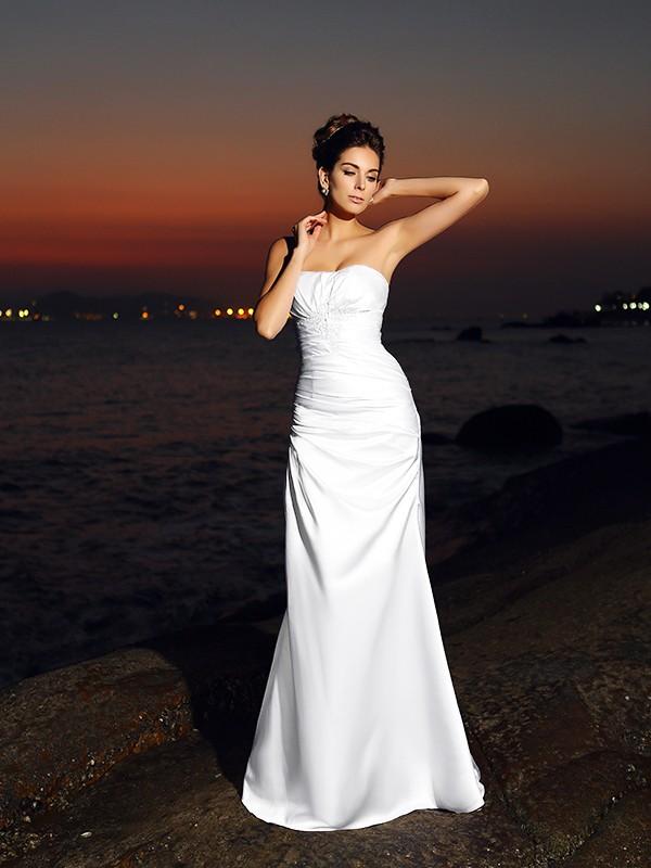 Trumpet/Mermaid Sweetheart Sleeveless Long Satin Beach Wedding Dresses