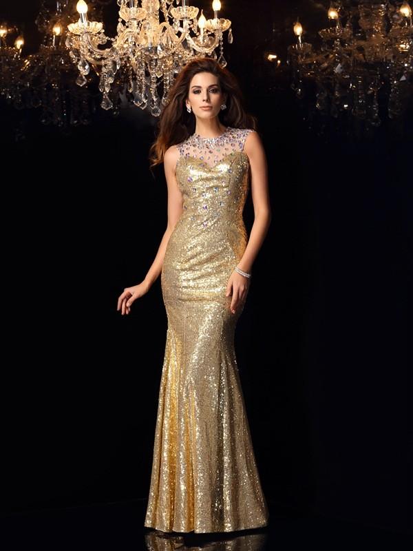 Trumpet/Mermaid Sleeveless Long Sequins Dresses