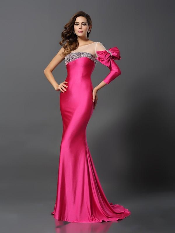 Trumpet/Mermaid Bateau Bowknot Long Sleeves Long Spandex Dresses