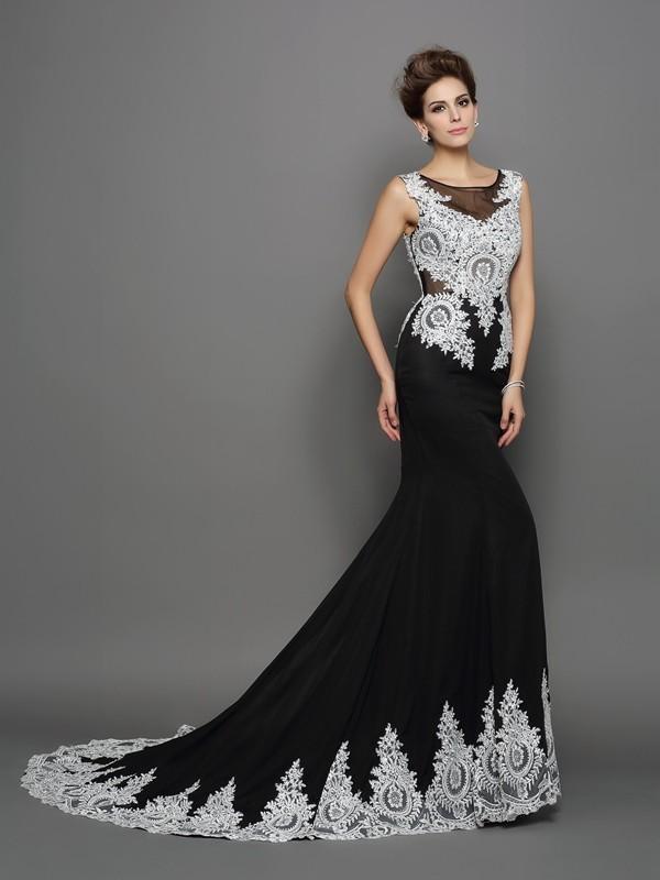 Trumpet/Mermaid Scoop Lace Sleeveless Long Chiffon Dresses