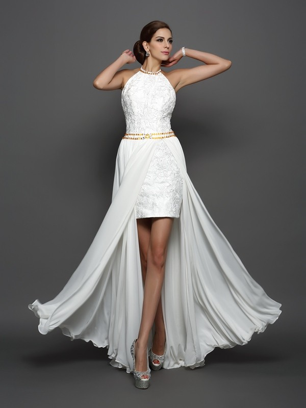 A-Line/Princess Lace Sleeveless Long Chiffon Wedding Dresses