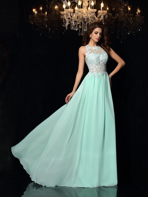 A-Line/Princess Applique Sleeveless Long Chiffon Dresses
