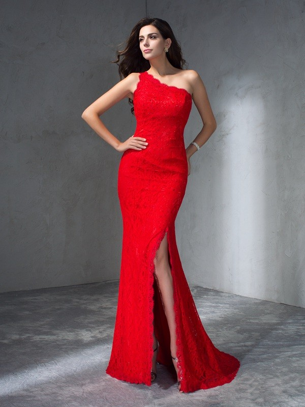 Trumpet/Mermaid One-Shoulder Sleeveless Long Lace Dresses
