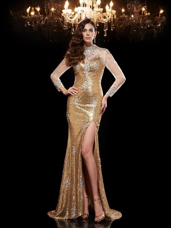 Trumpet/Mermaid Beading 3/4 Sleeves Long Sequins Dresses