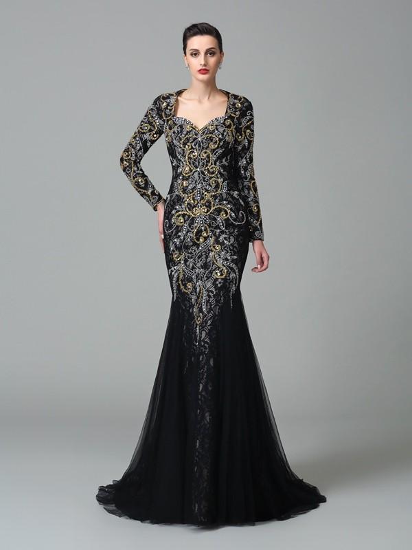 Trumpet/Mermaid Sweetheart Beading Long Sleeves Long Net Dresses