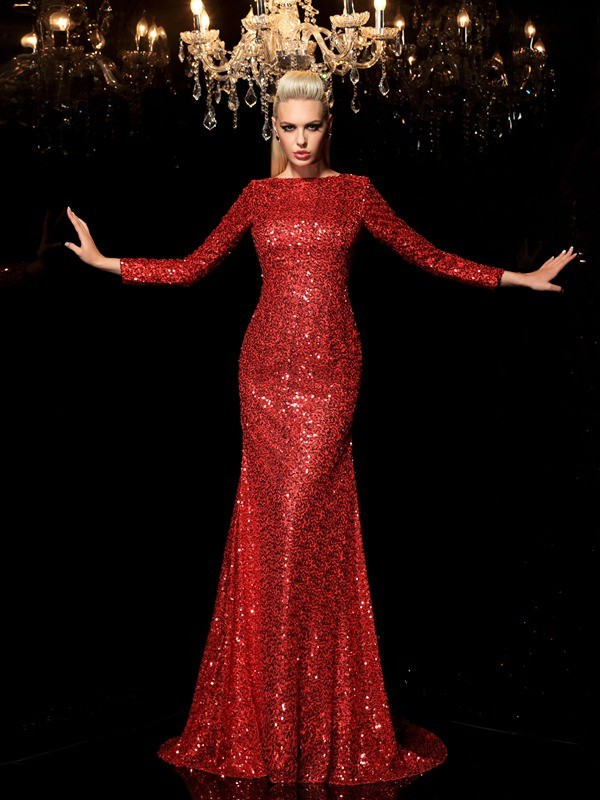 Sheath/Column Scoop Sequin Long Sleeves Long Sequins Dresses