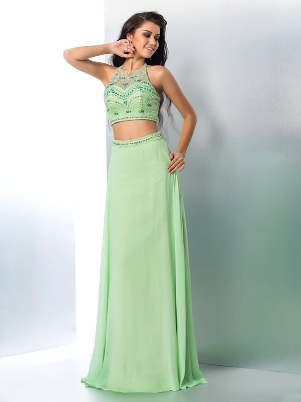 A-Line/Princess Halter Beading Chiffon Two Piece Dress
