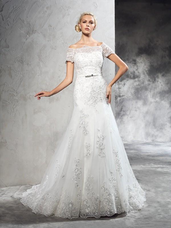 Sheath/Column Applique Short Sleeves Long Net Wedding Dress