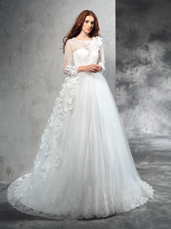 Ball Gown Sheer Neck Long Sleeves Long Net Wedding Dress