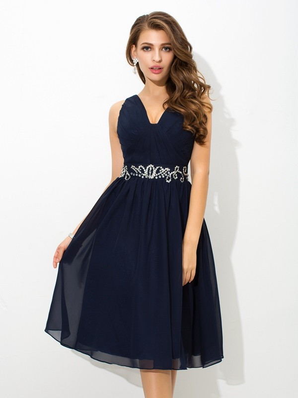 A-Line/Princess Straps Beading Short Chiffon Cocktail Dress