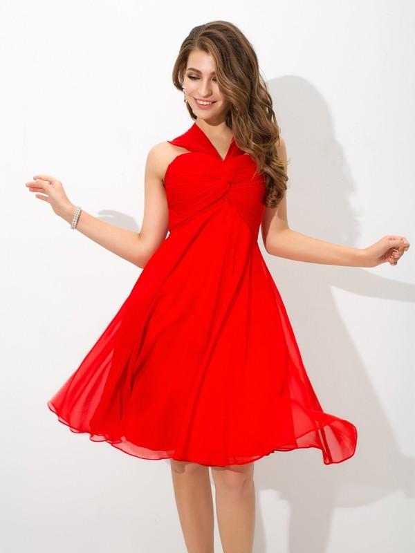 A-Line/Princess Straps Pleats Short Chiffon Cocktail Dress