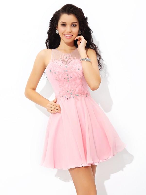 A-Line/Princess Sheer Neck Applique Short Chiffon Cocktail Dress