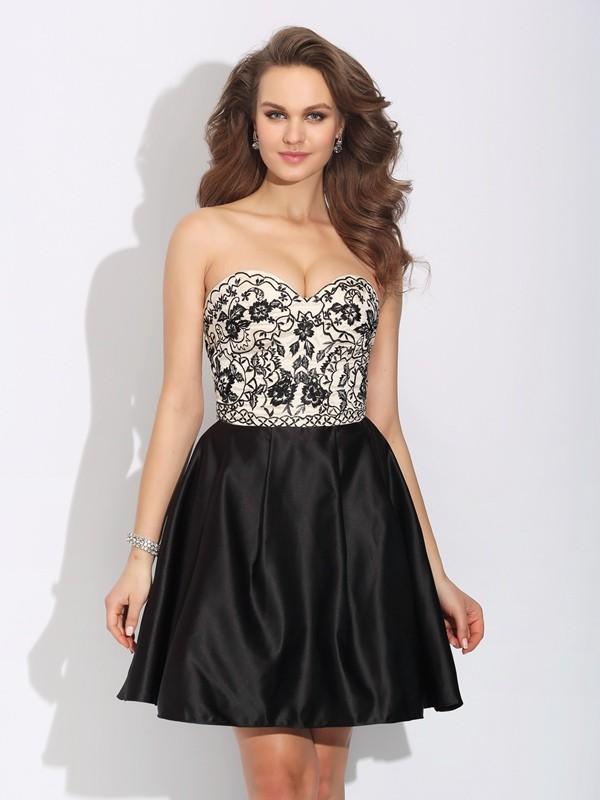 A-Line/Princess Sweetheart Bowknot Satin Dress