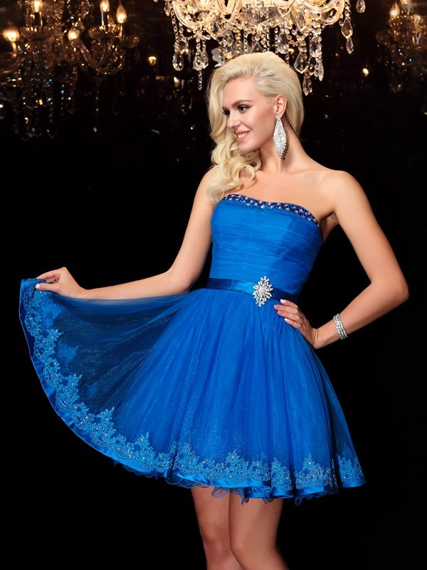 A-Line/Princess Strapless Beading Short Net Dress