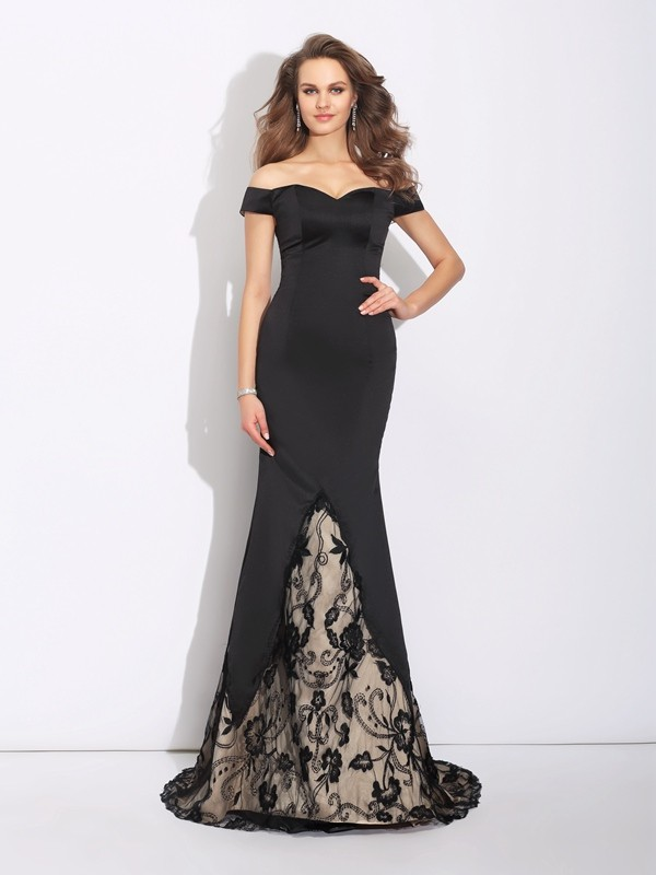 Trumpet/Mermaid Off-the-Shoulder Lace Satin Dress