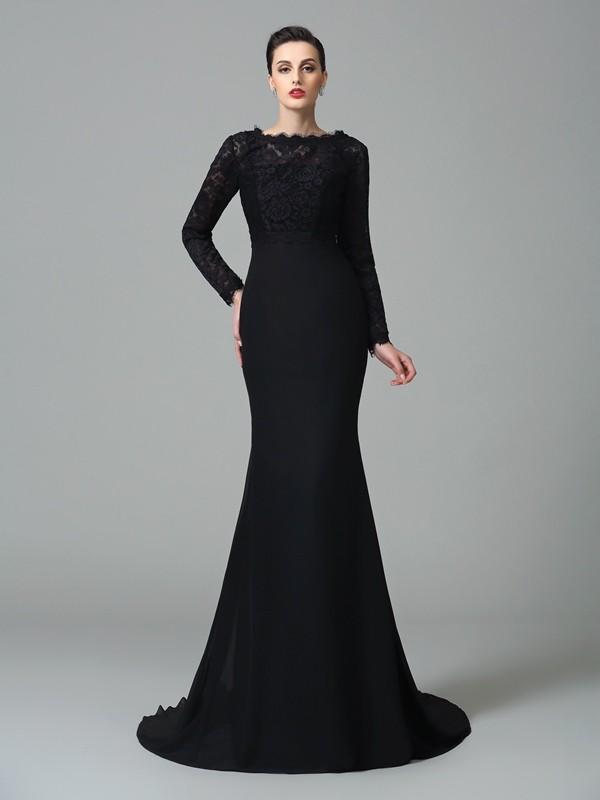 Trumpet/Mermaid Square Lace Chiffon Dress