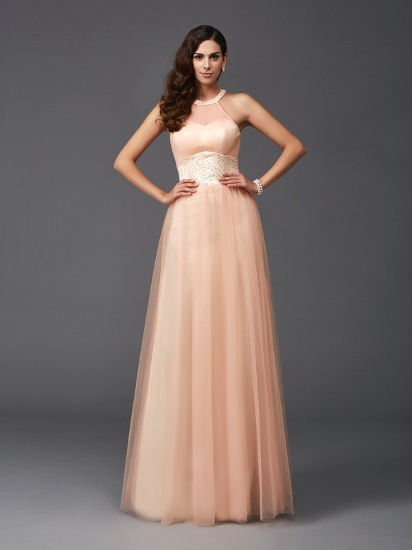 A-Line/Princess Halter Beading Long Net Dress
