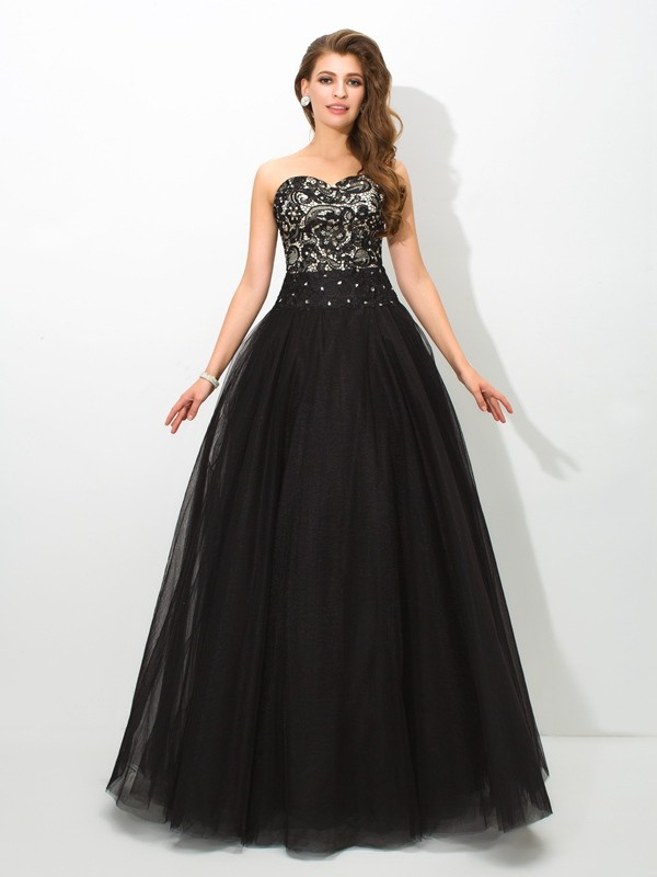 Ball Gown Sweetheart Lace Long Net Quinceanera Dress