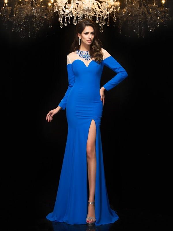 Sheath/Column Jewel Beading Long Sleeves Chiffon Dress