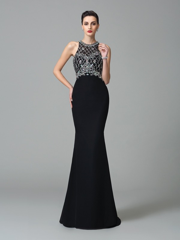 Trumpet/Mermaid Jewel Rhinestone Chiffon Dress