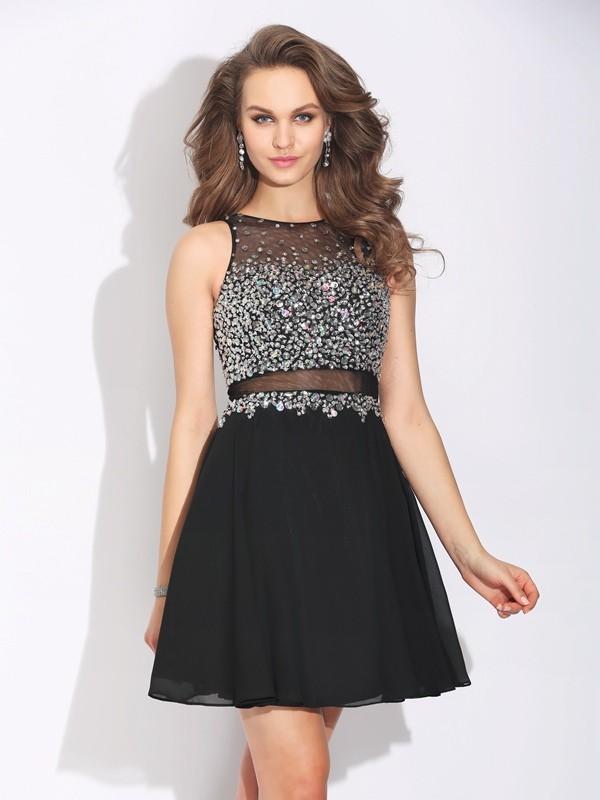 A-Line/Princess Jewel Beading Short Chiffon Dress
