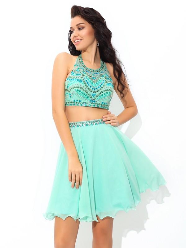 A-Line/Princess Sheer Neck Rhinestone Short Chiffon Two Piece Dress