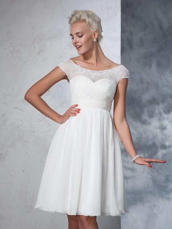 A-Line/Princess Sheer Neck Ruched Short Sleeves Short Chiffon Wedding Dress