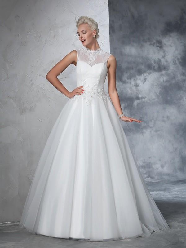 Ball Gown High Neck Applique Long Net Wedding Dress