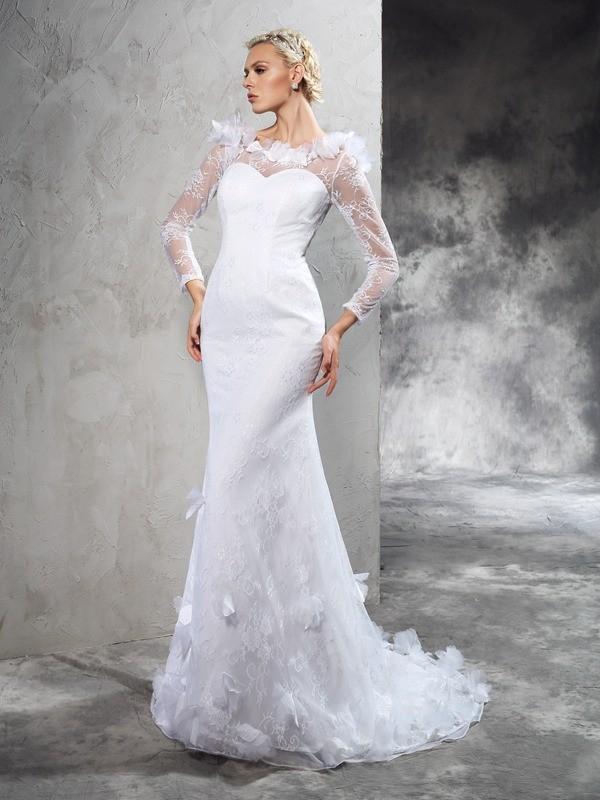 Sheath/Column Sheer Neck Long Sleeves Satin Wedding Dress