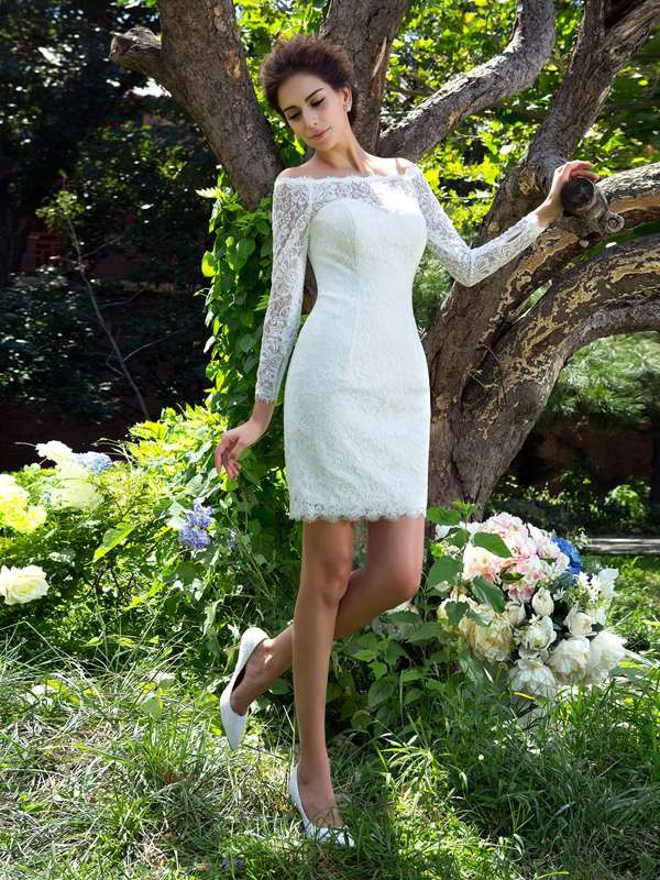 Sheath/Column Scoop Long Sleeves Satin Wedding Dress