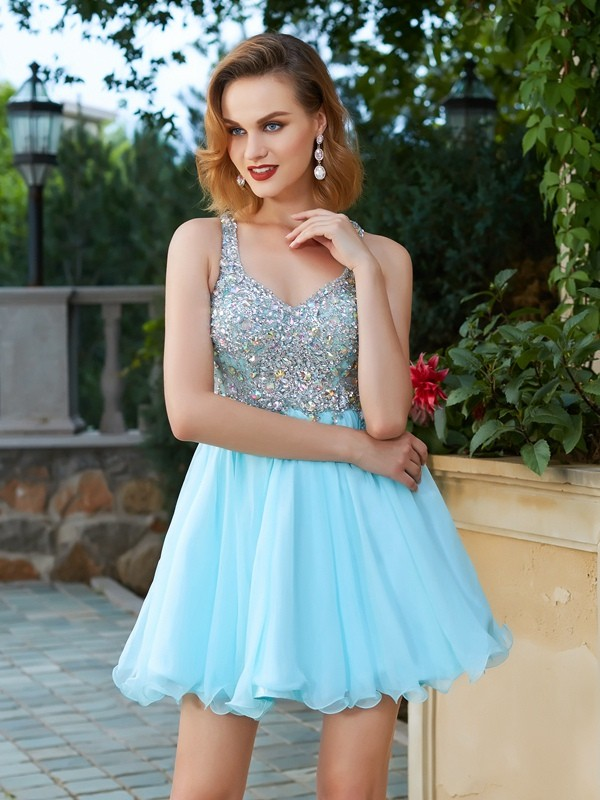 A-Line/Princess Rhinestone Straps Short/Mini Chiffon Dress