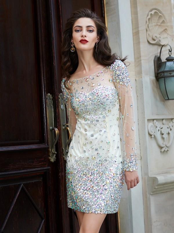 Sheath/Column Long Sleeves Net Scoop Rhinestone Short/Mini Dress