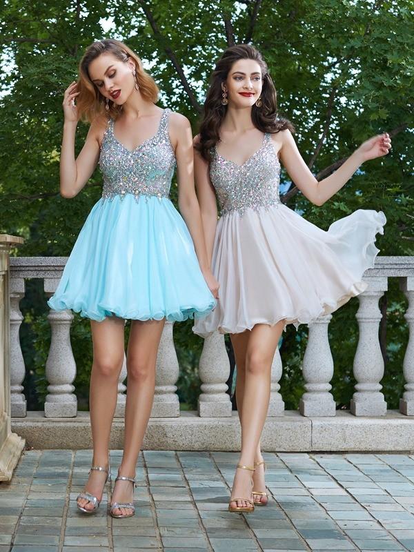 A-Line/Princess Rhinestone Straps Short/Mini Chiffon Dress