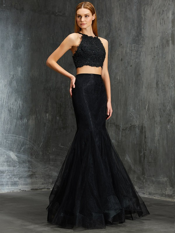 Trumpet/Mermaid Spaghetti Straps Applique Floor-Length Net Two Piece Dress