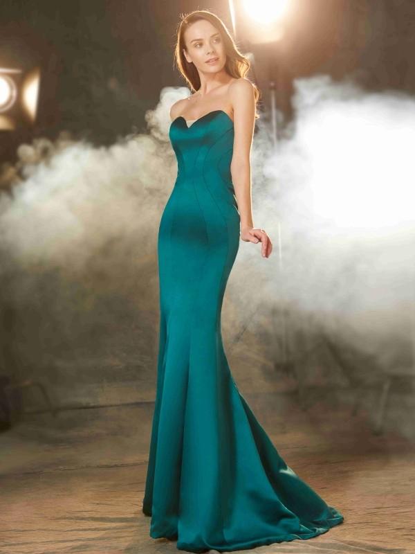 Trumpet/Mermaid Sweetheart Ruched Sweep/Brush Train Satin Dress