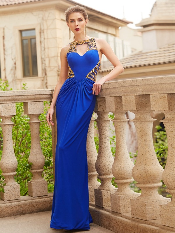 Sheath/Column Scoop Floor-Length Spandex Dress