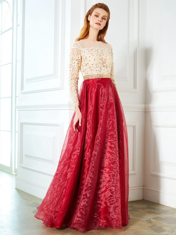 A-Line/Princess Sheer Neck Floor-Length Long Sleeves Applique Organza Dress