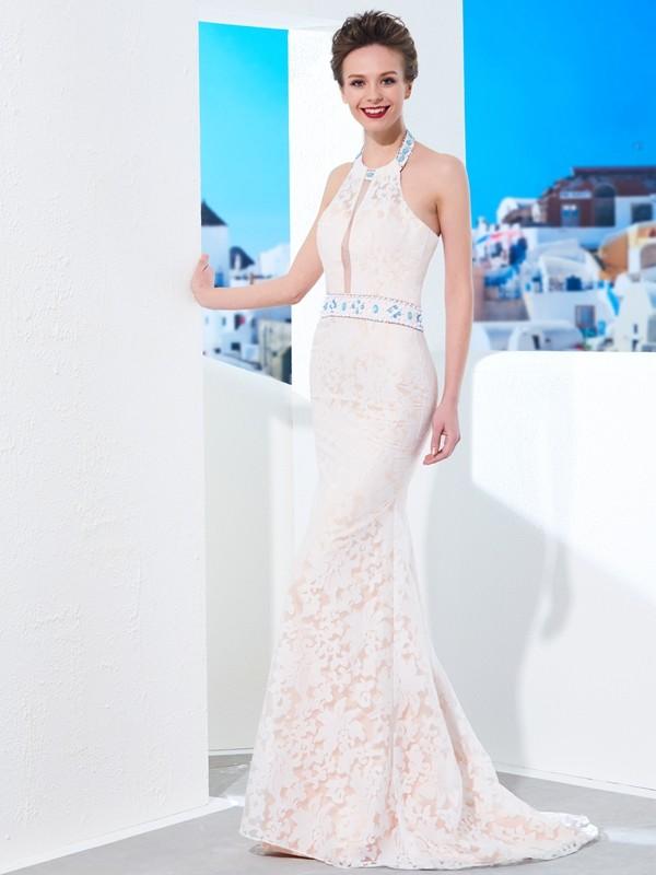 Sheath/Column Halter Floor-Length Lace Satin Dress