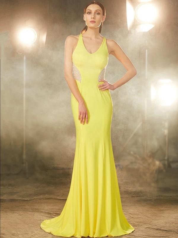 Trumpet/Mermaid V-neck Sweep/Brush Train Spandex Dress