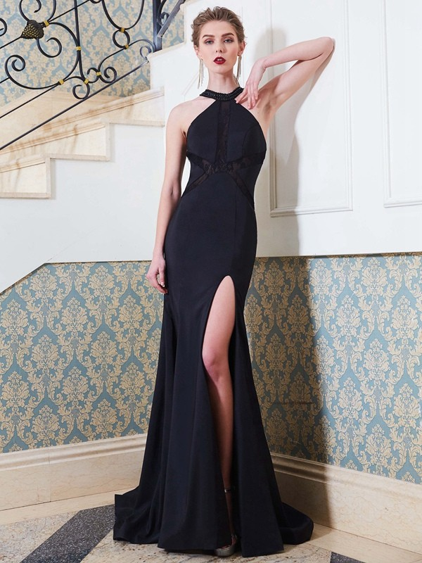 Sheath/Column Jewel Sweep/Brush Train Elastic Woven Satin Dress