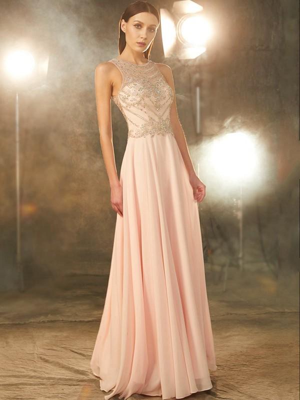 A-Line/Princess Scoop Chiffon Crystal Floor-length Dress
