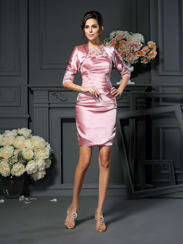 Elegant Elastic Woven Satin 3/4 Sleeves Applique Special Occasion Wrap